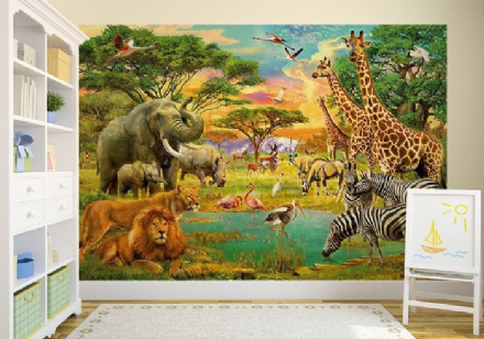 Safari Wild animals wall mural wallpapers